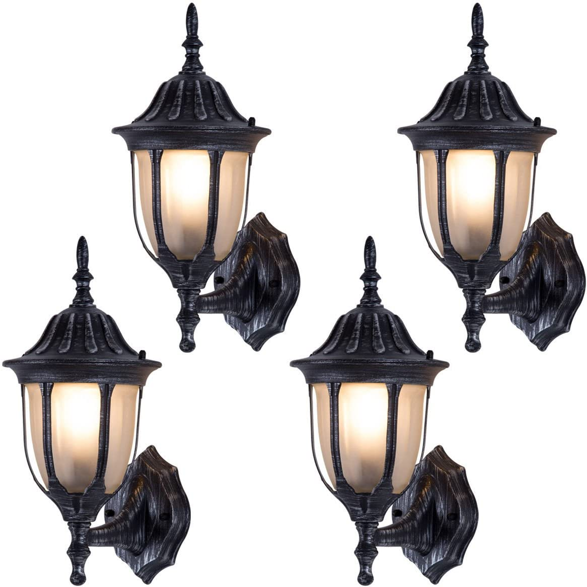 Tangkula Outdoor Lights Fixtures 4 Pack Outdoor Porch Front Door Garage Balcony Weatherproof Wall Sconces Lantern Lighting Exterior Light Fixtures Rust Traditional Amazon Com