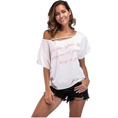 dd86afe6081f6f Dreamskull Damen Frauen T Shirts Oberteil Oberteile Pullover Sweatshirts  Tops Tunika Blusen Sommer Sexy Kurzarm One Shoulder Schulterfrei Locker  Casual ...