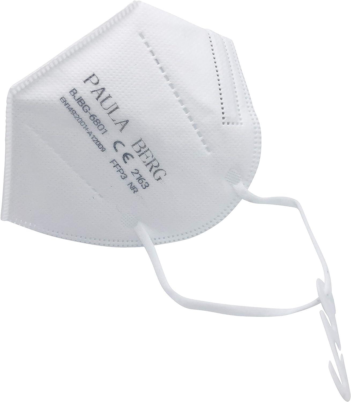 Paula Berg 20x mascarilla de polvo plegable FFP3 beergeeks - con bucle de oreja - filtro del 99% - sin válvula - embalaje individual