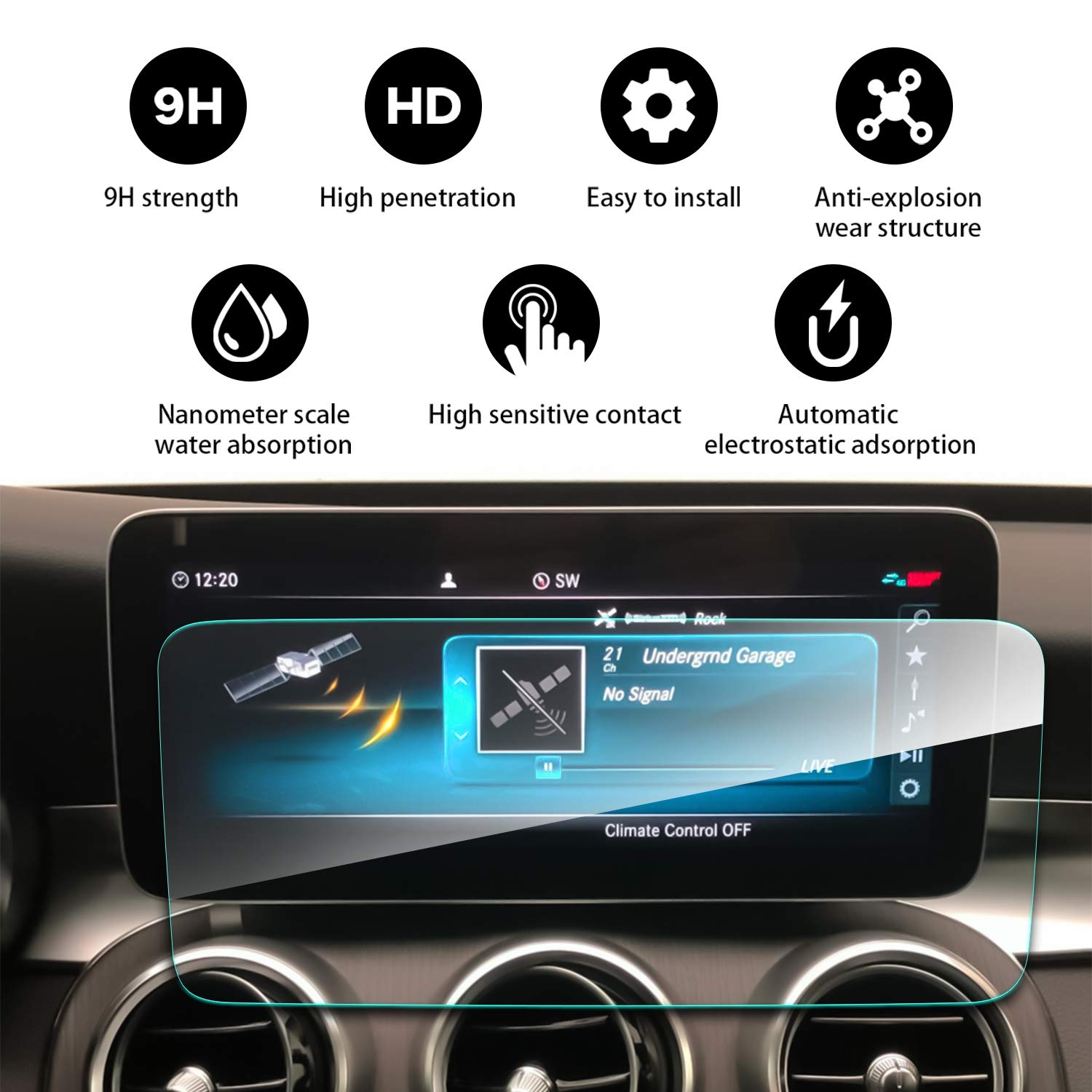 YEE PIN Screen Protector for 2019 Mercedes Benz C-Class W205 Center Control Touch Screen, Car Navigation Glass…