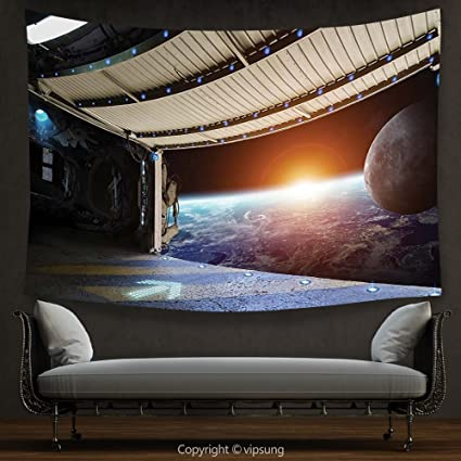 Amazon Com House Decor Tapestry Outer Space Decor Earth Scene From