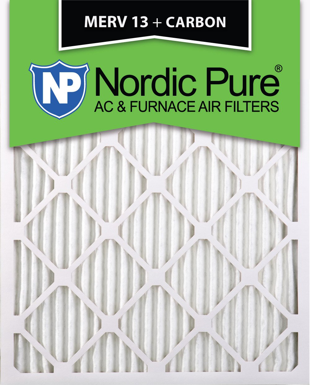 Nordic Pure 14x24x1 MERV 13 Plus Carbon Pleated AC Furnace Air Filters 2 Pack 14x24x1M13+C Piece
