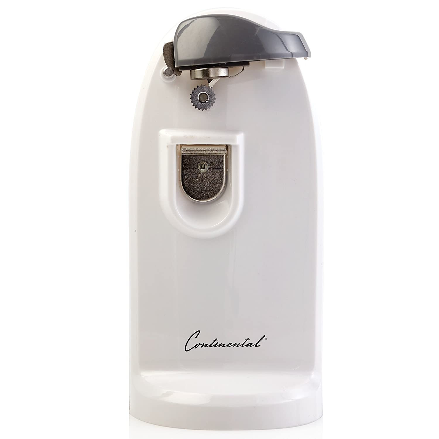 Continental Electrics CE22261 Tall Can Opener with Knife Sharpener-white