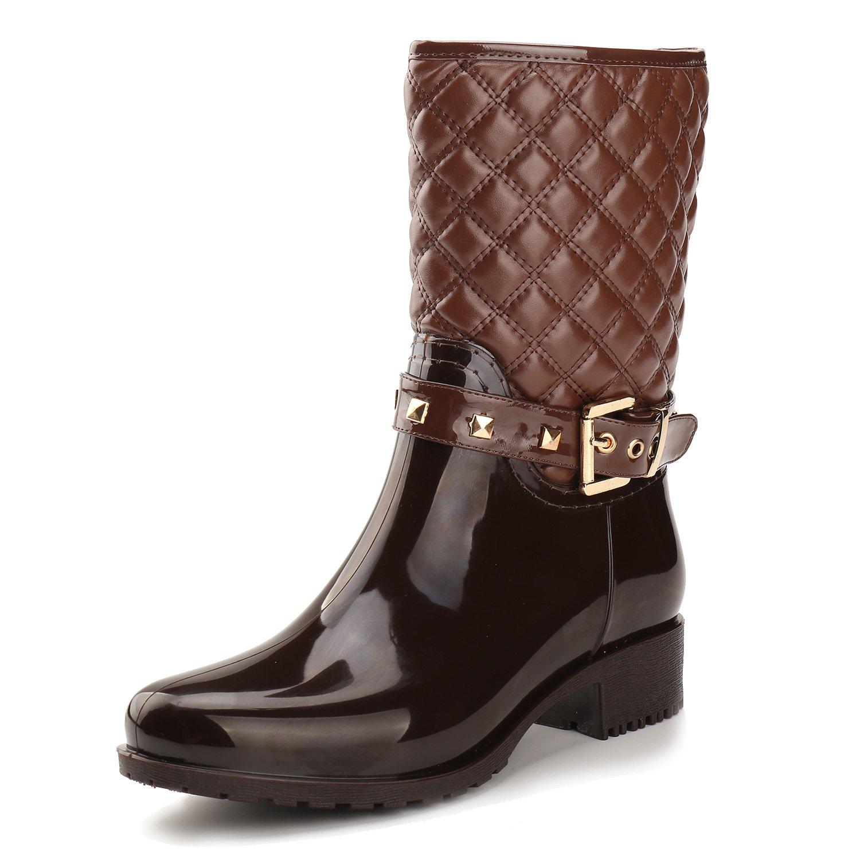 Alexis Leroy Women Checkered Diamond Pattern Studded Adjustable-Strap Warm-Keeping Rain Boots B00MUJLEJ0 36 EU / 5-5.5 US|Brown
