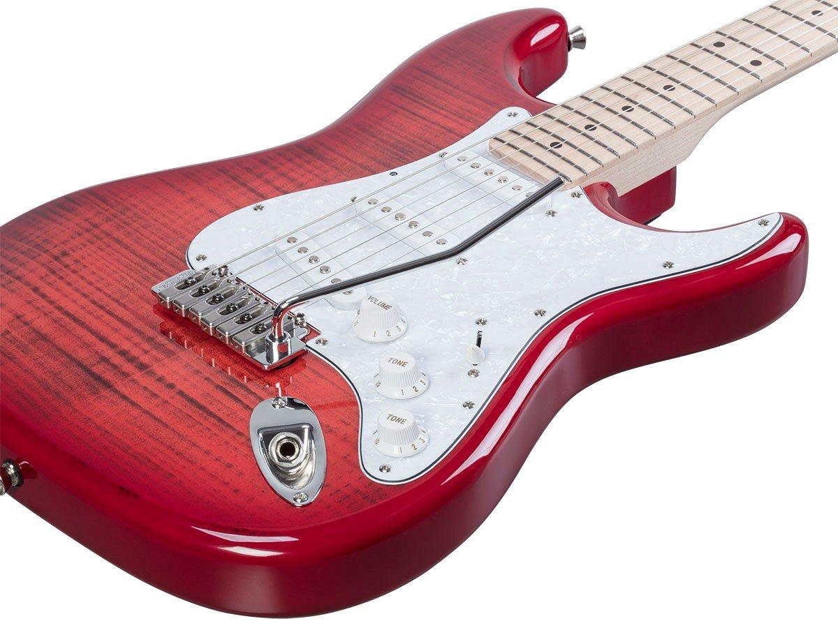 Monoprice indio Cali DLX de arce parte superior con funda para guitarra eléctrica, color rojo: Amazon.es: Instrumentos musicales