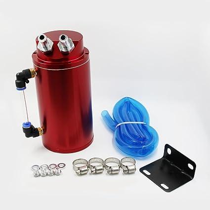 MODAUTO Depósito Aceite de Coche, Decantador de Aceite, Captura de Aceite de Motor, Aluminio Pulido, Redondo, Modelo E080RD, Color Rojo