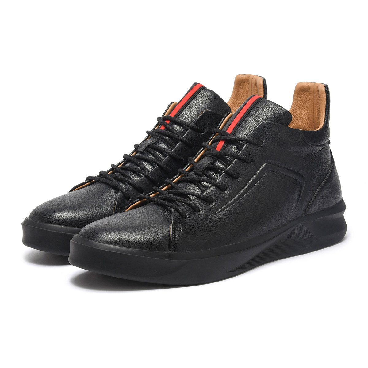 ARTISURE Men's Classic Black Genuine Leather High-Top Casual Sneakers Fashion Ankle Boots 10 M US SKS-1019HEI100 by ARTISURE (Image #8)