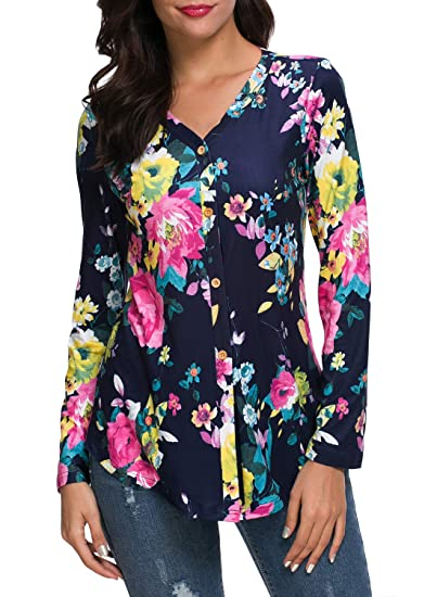 3e3a150e7a0fb Image Unavailable. Image not available for. Color: Kranda Size XL Womens  Navy Floral Print Blouse Long Sleeve T Shirts