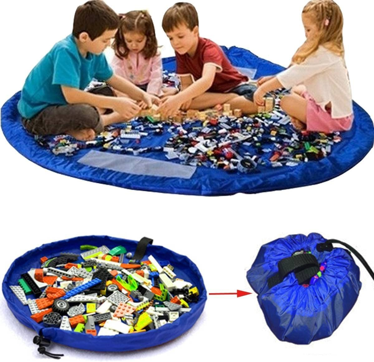 Fast Cleanup Toy and Storage Container for Children Storing Bricks Storage Bag by Drawstring Play Mat for Kids