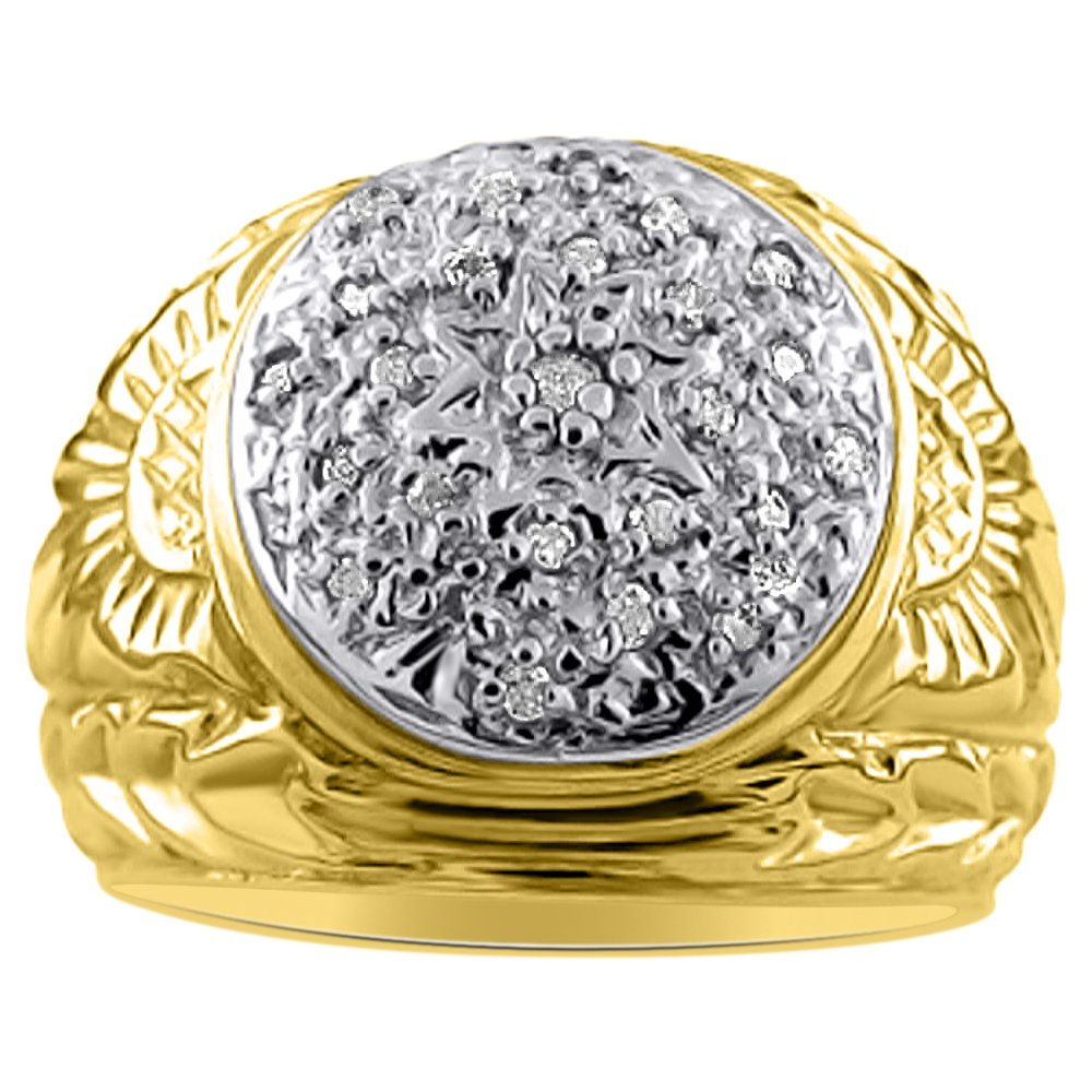 Mens Diamond Cluster Ring Sterling Silver or Yellow Gold Plated