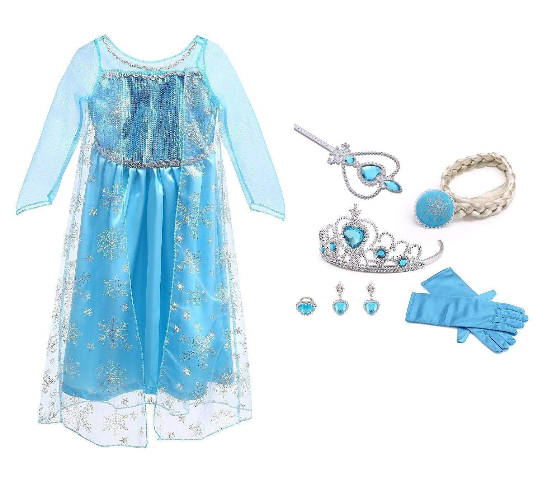 URAQT Vestido de Princesa Elsa, Reina Frozen Disfraz Elsa Vestido Infantil Niñas Costume Azul Cosplay de Disney Disfraz de Halloween, Cumpleaños product image