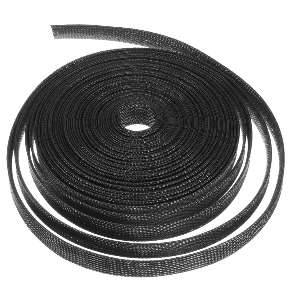 15M Nylon Black Expandable Sheathing Tight Braided Loom Tubing Wire Cable Sleeving Insulation 8/10/12/15/20mm for Wrapping Cable