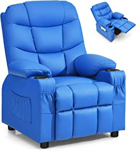 Costzon Kids Recliner Chair with Cup Holder, Adjustable Leather Lounge Chair w/Footrest & Side Pockets for Children Boys Girls Room, Ergonomic Toddler Furniture Sofa, Kids Recliner (Blue)