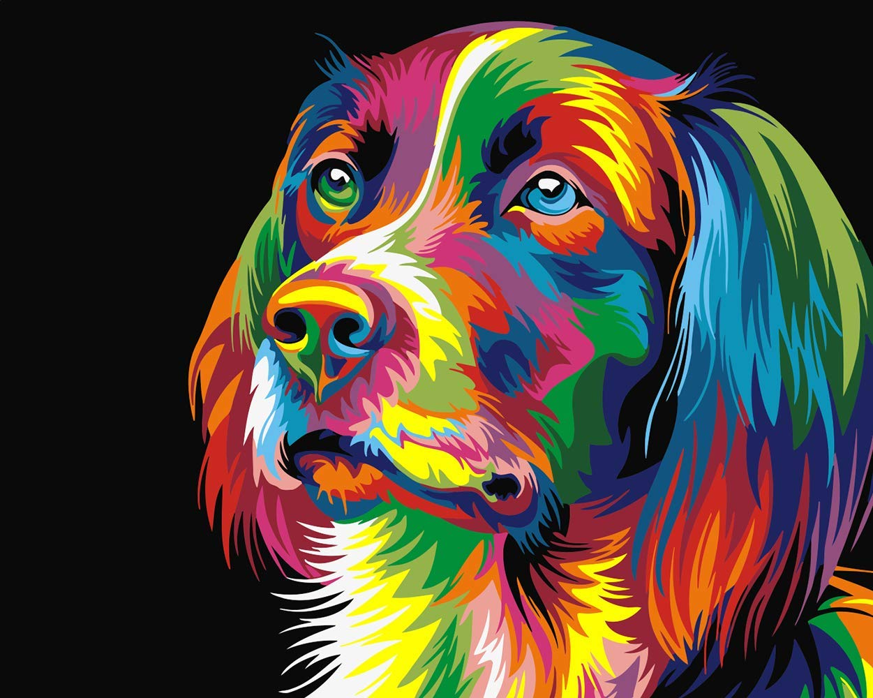 Neon Dog Ehior Paint by Numbers Kits 16x20 inches Canvas Painting for Adults Beginner and Kids with 3X Magnifier Without Frame Acrylic Paints and Brushes