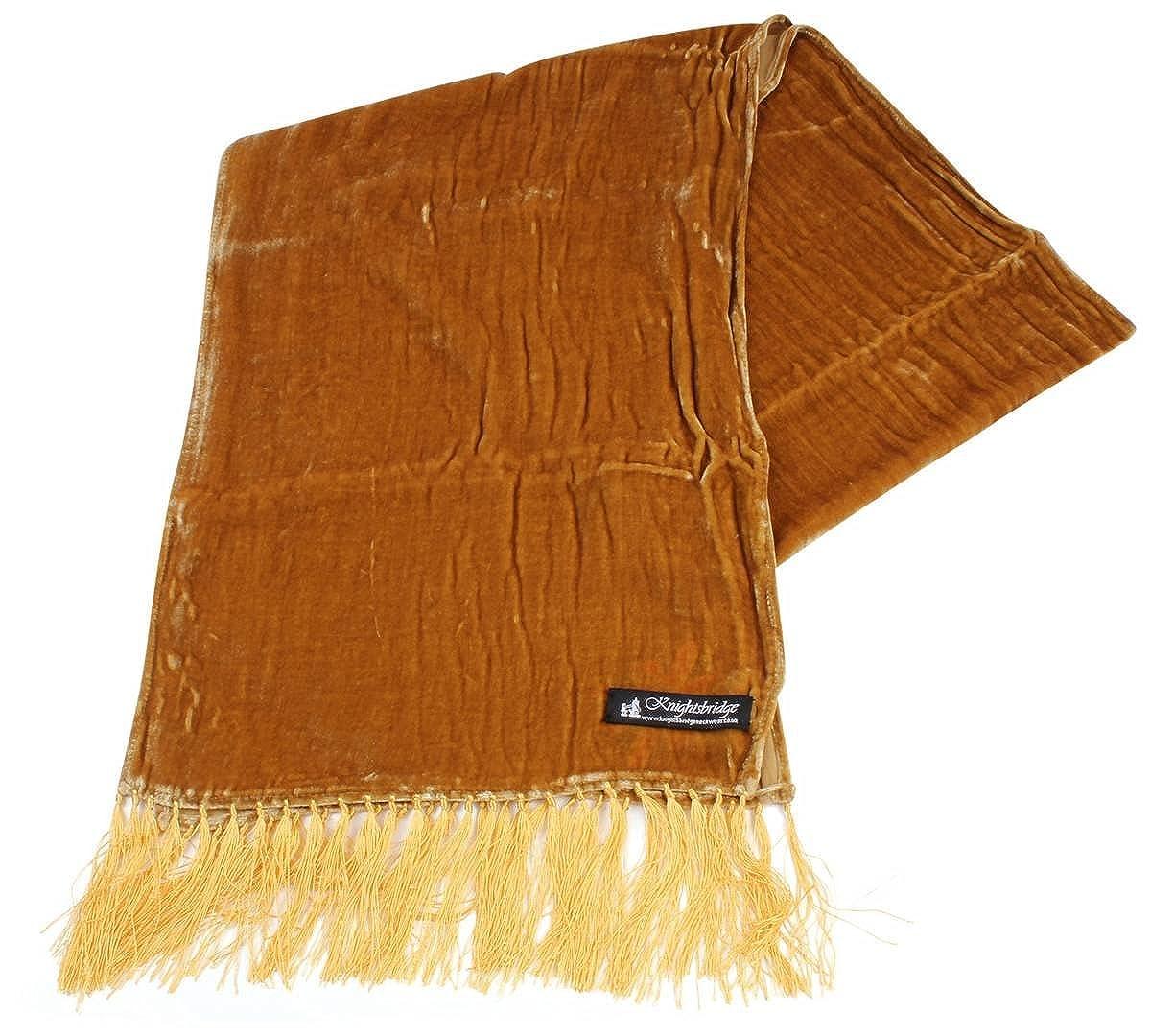 9436fe5d8b69 Knightsbridge Neckwear Mens Velvet Scarf - Gold at Amazon Men's Clothing  store: