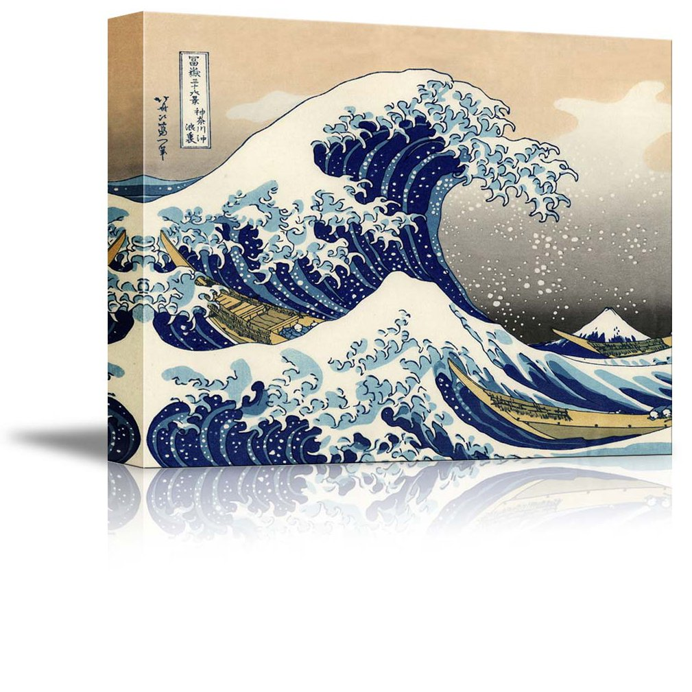 wall26 Canvas Print Wall Art - The Great Wave Off Kanagawa by Katsushika Hokusai Reproduction on Canvas Stretched Gallery Wrap. Ready to Hang -18''x24'' by wall26
