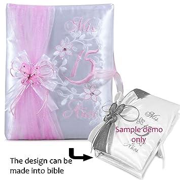 Select Your Choice Of Quinceanera Bible Photo Album Kneeling Tiara Pillow Guest Book Q3034 English