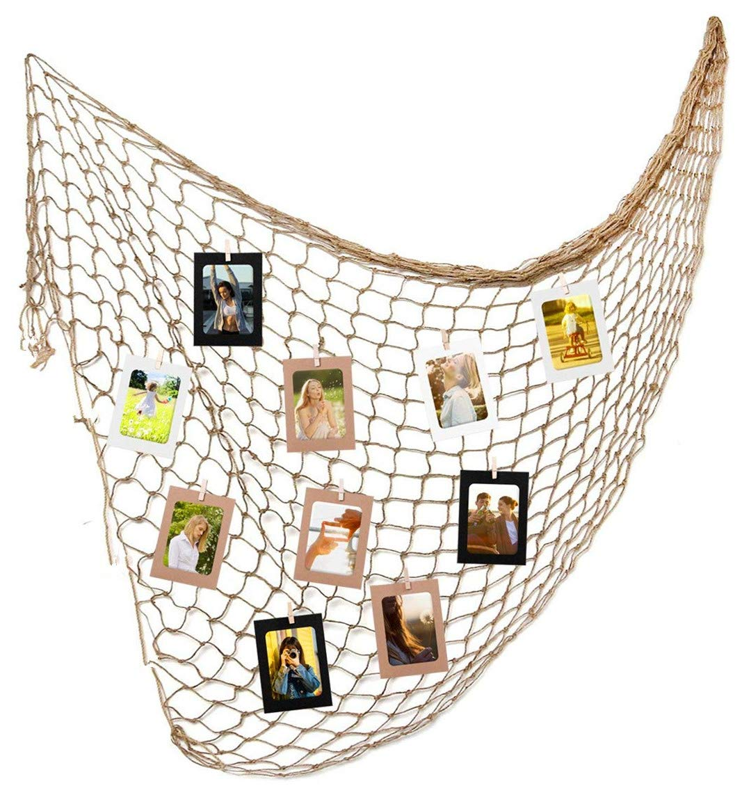 tensky Photo Hanging Display with 30 Clip Fishing Net Wall Decor - Picture Frames & Prints Multi Photos Organizer & Collage Artworks - Nautical Decorative Dorm Bedroom Christmas Decorations