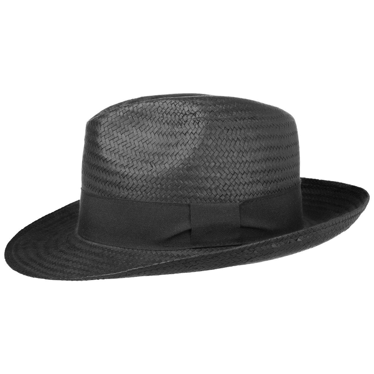 Cappello di paglia di carta White Mountain, Bogart con nastro in gros-grain, bel cappello per l'estate, bianco o nero, cappello da sole in varie misure - perfetto sia in vacanza che nel giardino di ca Hutshopping