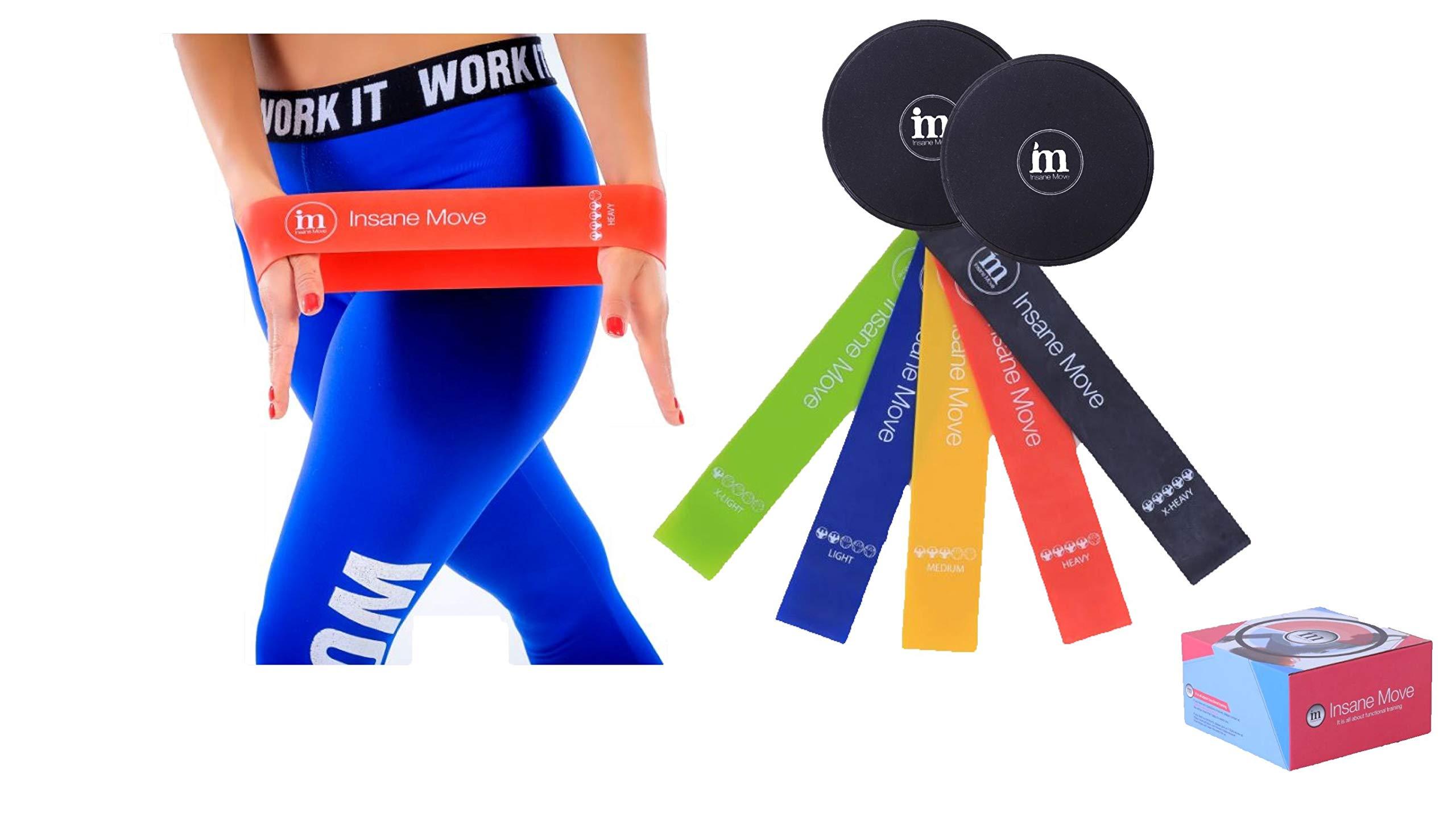 Insane Move Multi- Functional Fitness & Sports Training Set Different Resistance Level Workout Bands - 5 Resistance Bands, 2 Core Sliding Discs – Ideal Training Bands Men & Women
