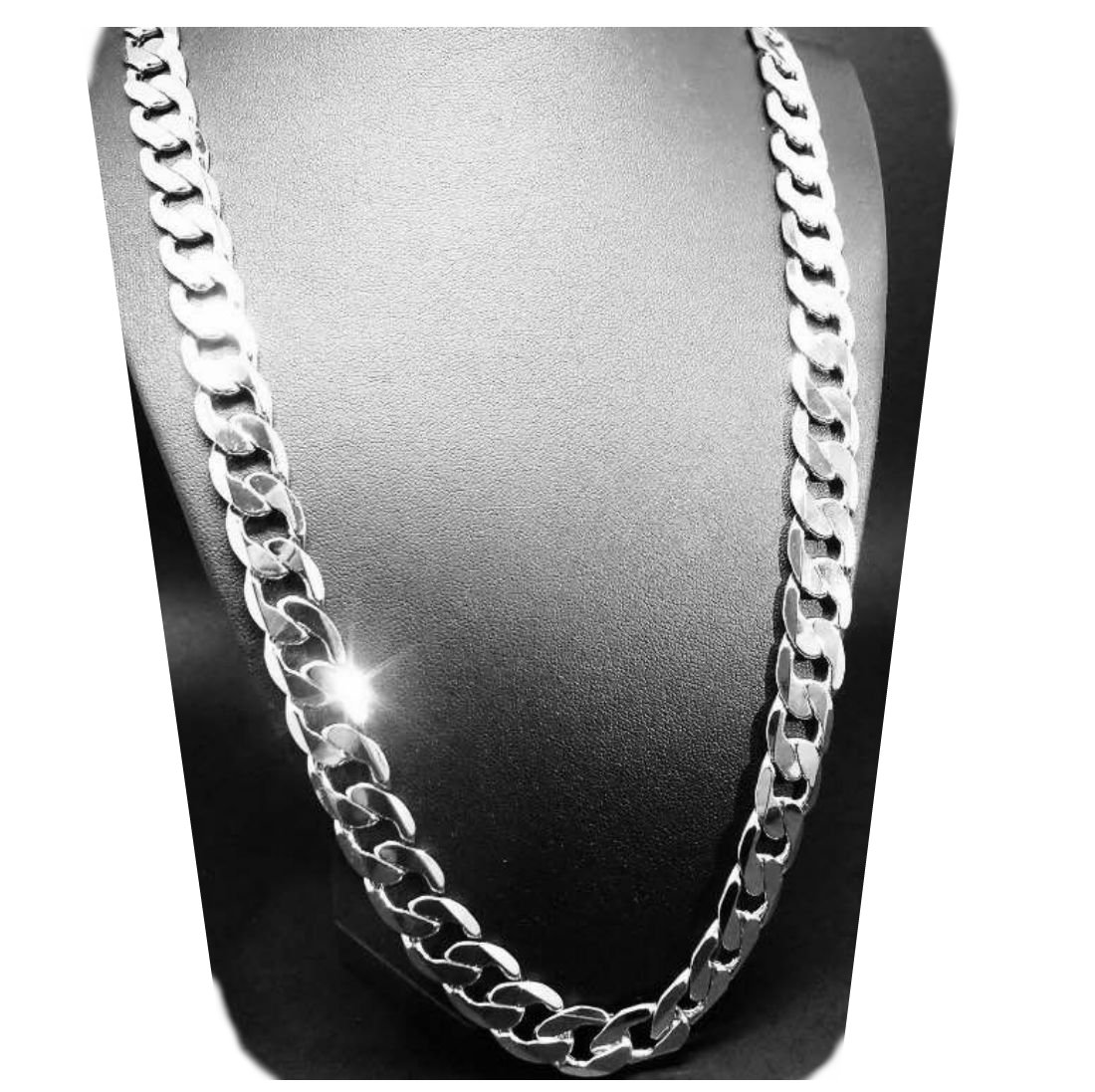 Gold chain necklace 5mm 18K White Gold Diamond cut Smooth Cuban Link with a Warranty Of A LifeTime USA made! (27)