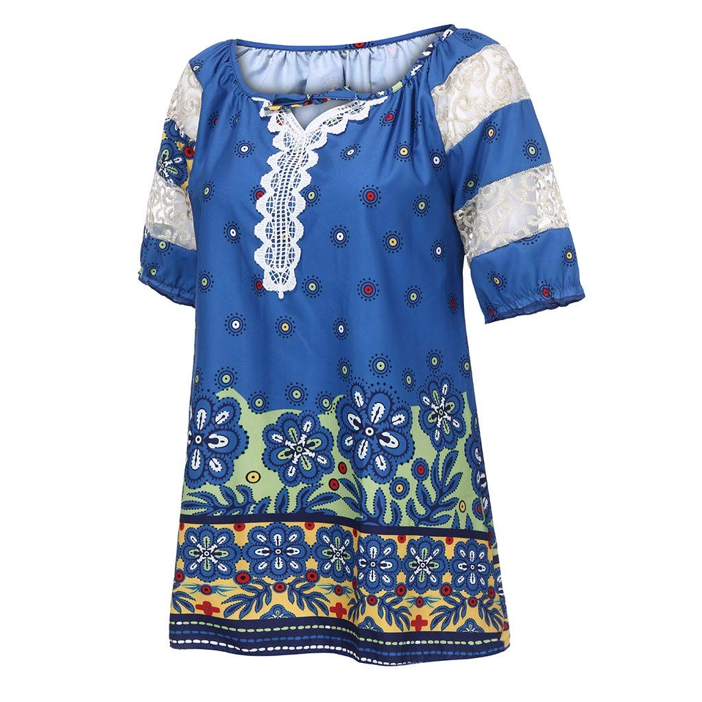 Honestyi Frauen Kurzarm V Ausschnitt Spitze Gedruckt Spitze Tops Lose T Shirt Bluse S 5XL Kurz/ärmliges Spitzen T Shirt mit V Ausschnitt