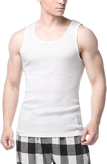 LAPASA Pack de 4 Camisetas de Tirantes Deportivas para Hombre Algodón 100% de Canalé M35: Amazon.es: Ropa y accesorios