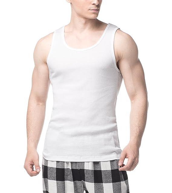 LAPASA Pack de 4 Camisetas de Tirantes para Hombre de Algodón 100% (Gris: