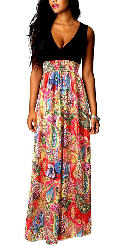 Eyekepper Women's Sleeveless V-Neck High Waist Floral Printing Length Dress DSV025240-45-CA