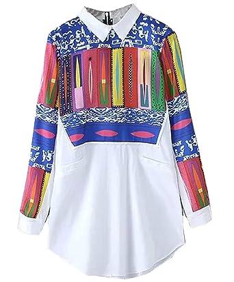 Shein Camisas - Para Mujer Blanco Blanco Large: Amazon.es: Ropa y accesorios