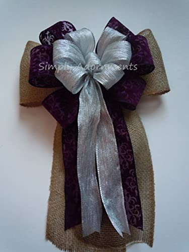 Purple Silver Burlap Wedding Bow Rustic Shabby Chic Aisle Decoration Country