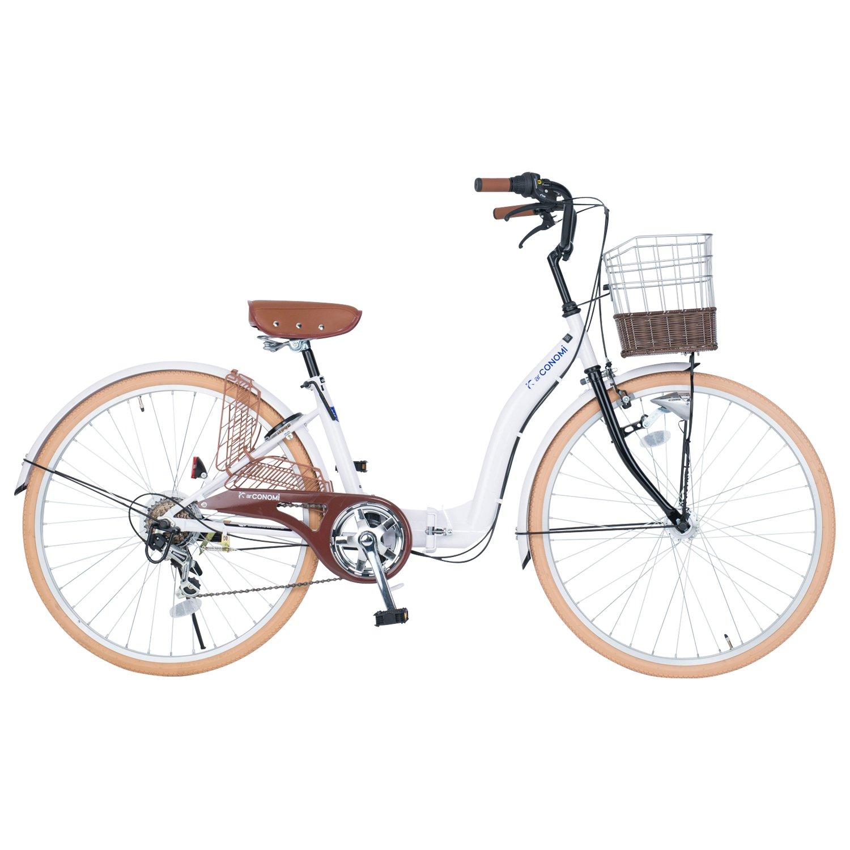 商舗 ランキング総合1位 コノミ CONOMi B075M6RDWNホワイト 折りたたみシティサイクル折りたたみ自転車26インチ6段ギアLEDオートライトパンクしにくい肉厚チューブタイヤCO-26