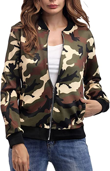 64d5523ae Women Camouflage Jackets Coats Zipper up Army Military Bomber Jacket Outcoat