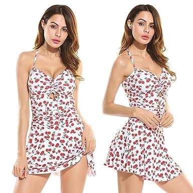 keelied Damen Neckholder Badeanzug Blumenprint Beachwear One Piece Bademode  Figurformend Swimwear mit verstellbare Träger 7c0f1f77e6