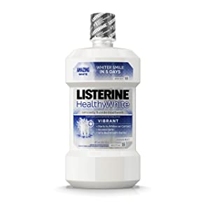 Listerine Healthy White Vibrant Multi-Action Fluoride Mouth Rinse, Foaming Anticavity Mouthwash For Whitening Teeth and Fighting Bad Breath, 16 fl. Oz(2 Pack)