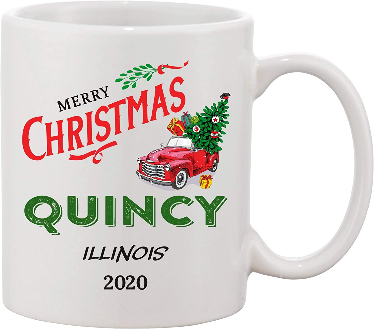 Amazon Com Merry Christmas Ceramic Mug Quincy Illinois State Home Gift Housewarming Gift Home Mug Owner Gift Christmas Mug Decoration New Home Mug 11 Oz Kitchen Dining