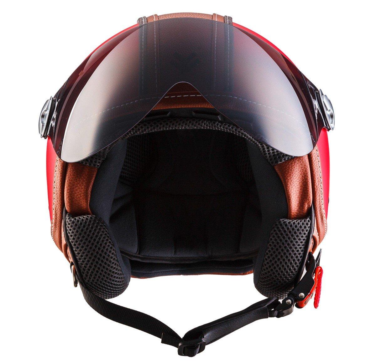 """Armor /· AV-84 /""""Vintage Deluxe Red/"""" /· Casco Demi Jet /· Piloto Urbano Scooter Helmet Motocicletta Moto /· ECE certificato /· Visor /· Click-n-Secure/™ Clip /· Borsa per il trasporto /· red"""