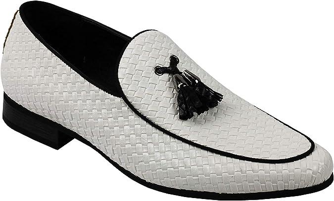 TALLA 44 EU. Tejido Hombres De Cuero Forrado Borla del Mocasín De Los Holgazanes Retro Inteligente Casual Deslizamiento En Los Zapatos