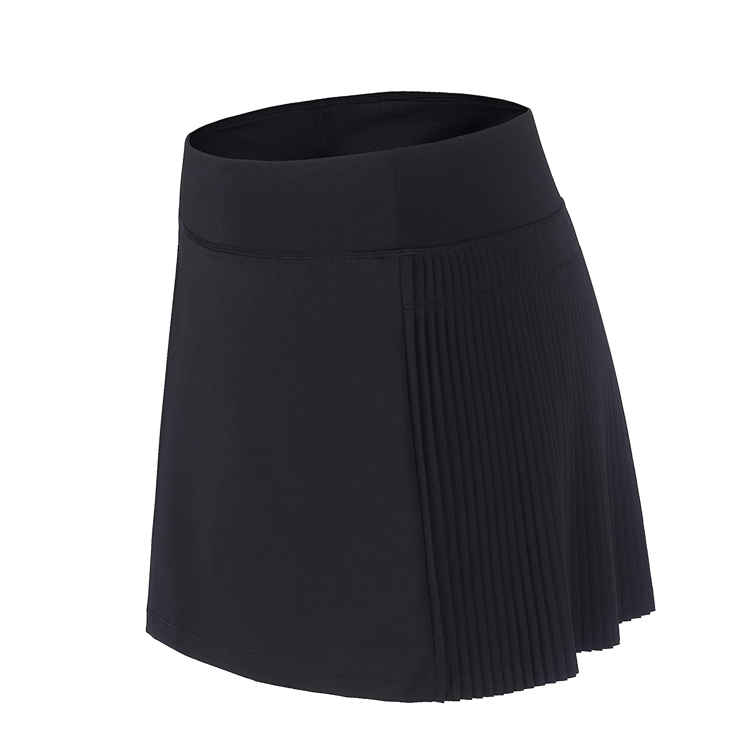 Black(half Pleated) HonourSport Women's Elastic Pleated Tennis Skort with Pockets