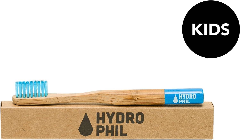 HYDROPHIL - Cepillo de Dientes Infantil Azul - Producción sostenible con bambú - vegano - Particularmente suave con las encías - Cerdas de nylon Yumi Bio Shop