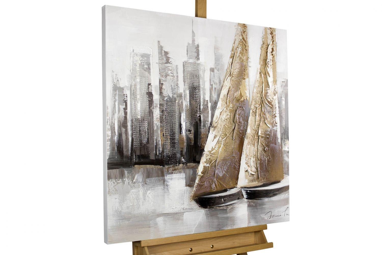 KunstLoft® Gemälde & 039;Mit dir um die Welt& 039; in 80x80cm   XXL Leinwandbild handgemalt   SegelStiefele vor Skyline auf Weiß   signiertes Wandbild-Unikat   Acrylgemälde auf Leinwand   Modernes Kunstbild   Sehr gro&a