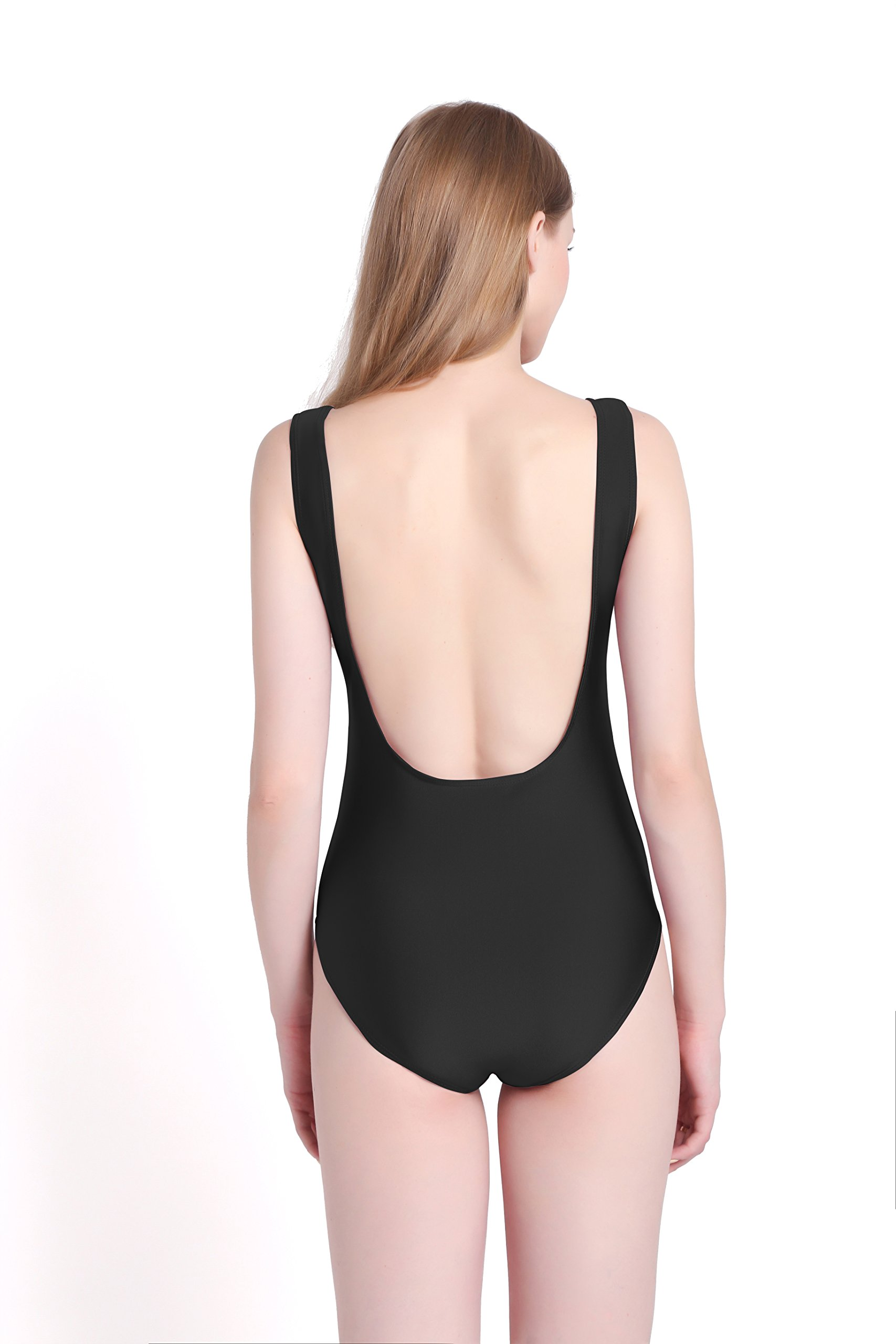 PINJIA Sexy Cute One Piece Swimsuit With High Cut and Low Back Monokini Bikini For Women(MX03) (S, Black Island Vibes)
