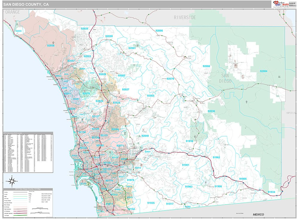 San Diego County, CA Wall Map (Premium Style, Wooden Rails, 48x64 inches)