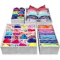 PUBAMALL Closet Underwear Organizer Drawer Divide by para ropa interior, sujetadores, calcetines, corbatas, pañuelos (Un juego de 4 paquetes) (Gris claro)