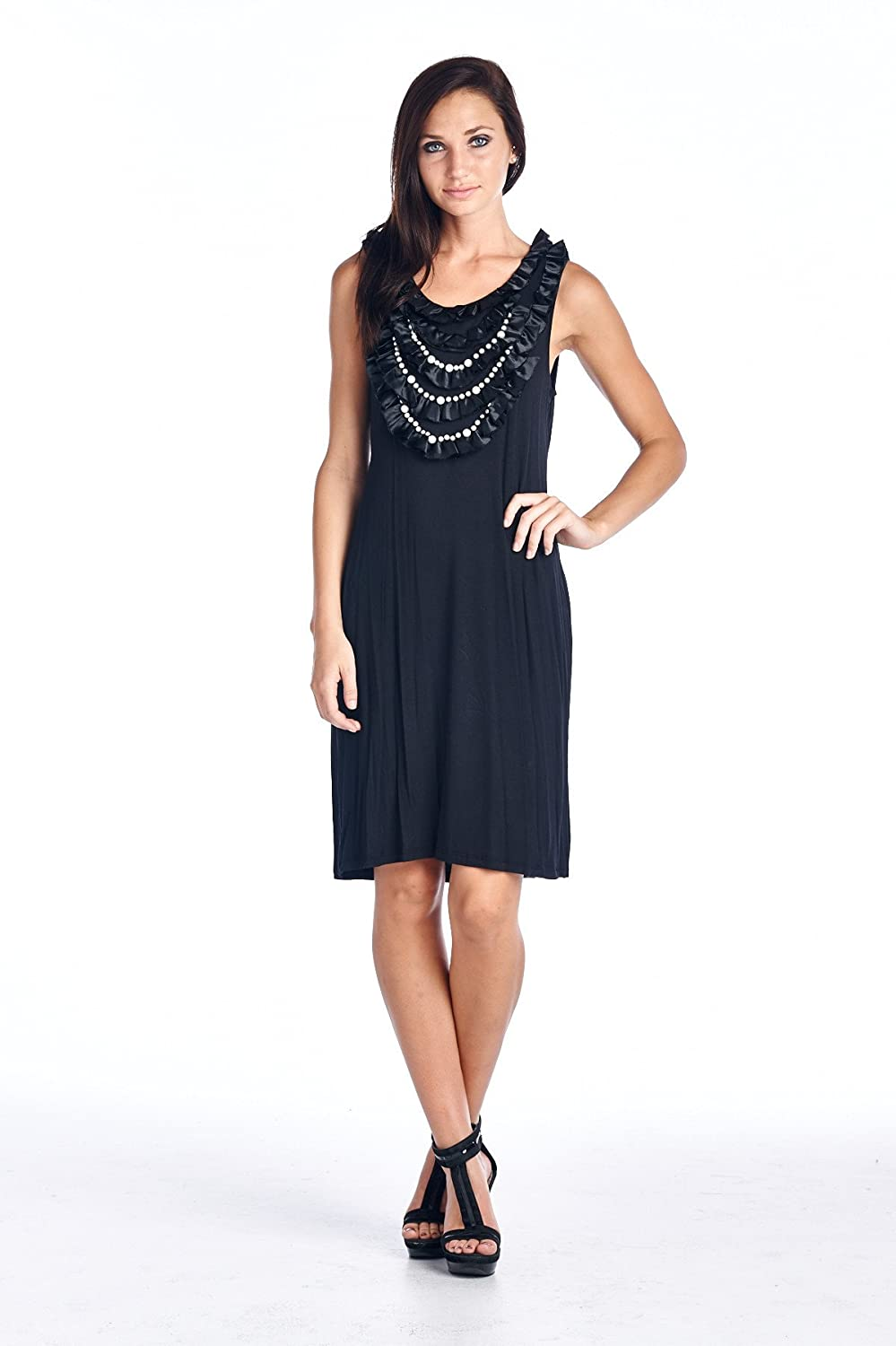 Marcelle Margaux Pearl Neck Trim Jersey Tank Dress