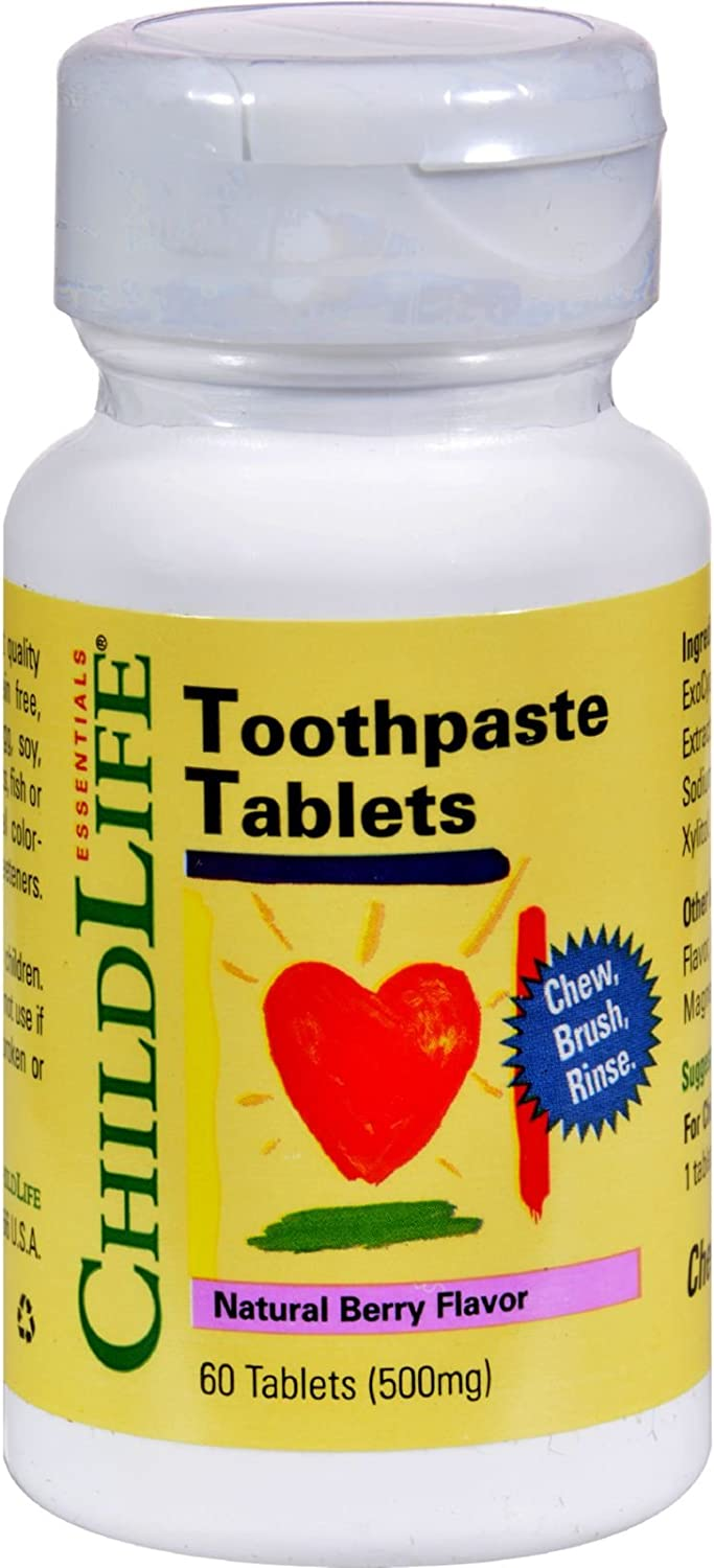 Childlife Toothpaste Tablet Natural Berry - Chew, Brush, Rinse - For Children 3-12 Years - 60 Tablets (Pack of 2)