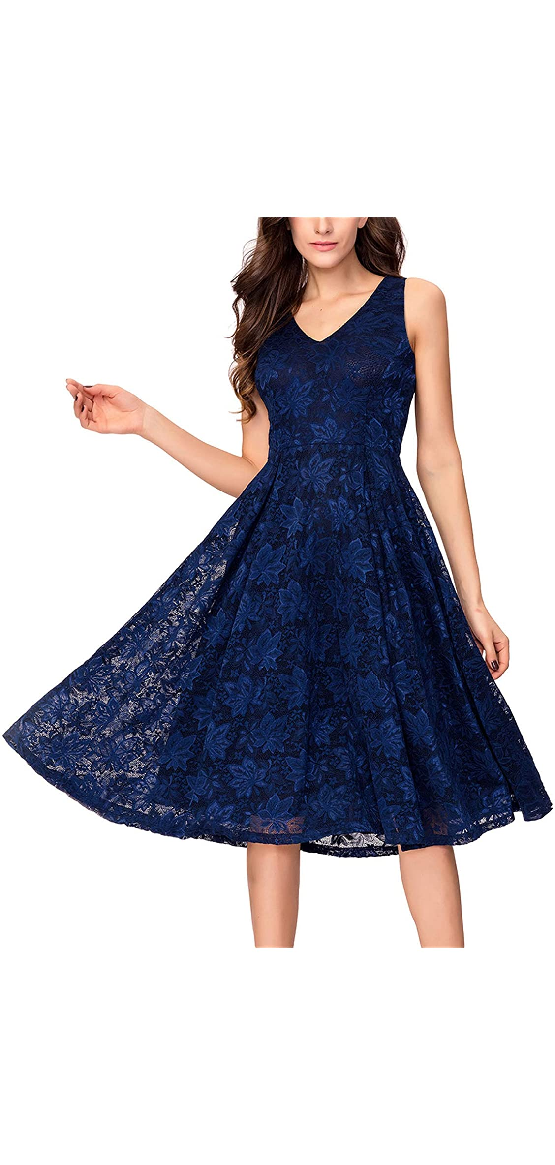 Lace V Neck Fit  Flare Midi Cocktail Dress For Women