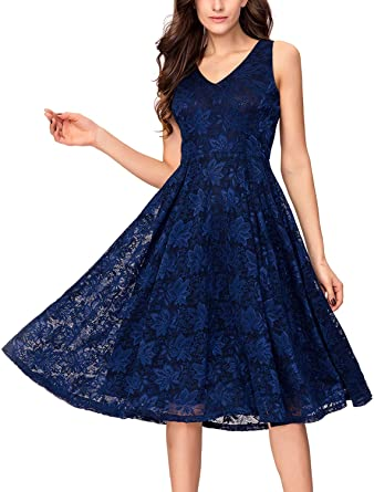 01901a03d5f Noctflos Lace V Neck Fit   Flare Midi Cocktail Dress for Women Party  Wedding Navy Blue