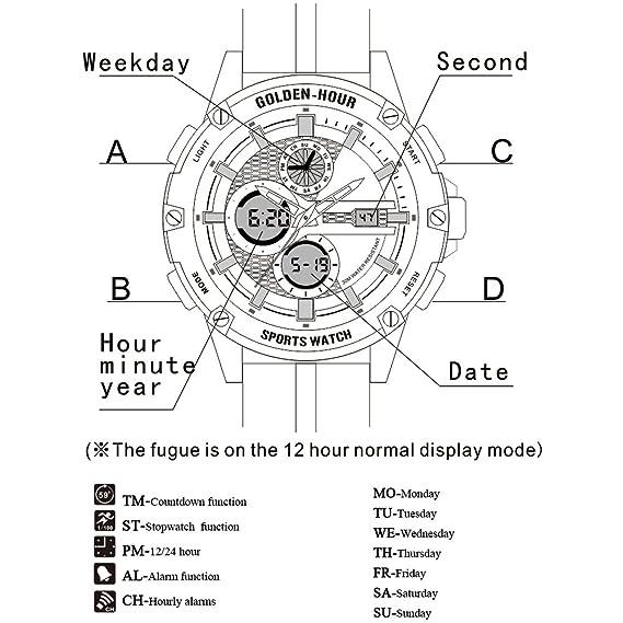 Relojes Hombres Deporte Digital Analógico Impermeable Acero Inoxidable Multifuncional Militar Verde Cuero & Correa de Tela Ejército Reloj de Pulsera: ...