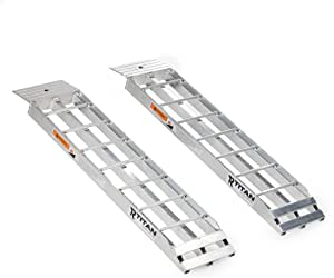 """Titan Ramps 36"""" x 8"""" Aluminum Dual Shed Ramps with 4"""" Rung Spacing, Rated 750 LB Each, Garage Shed Storage, Easy Loading"""